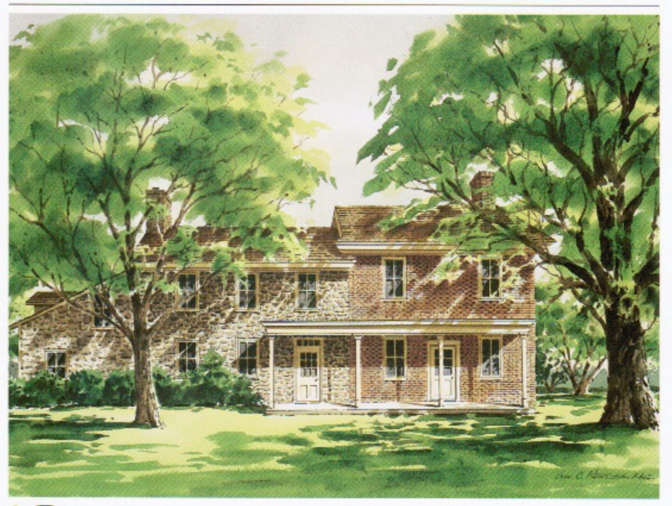 Water Color Painting of the Farmhouse at Palmer Farm